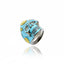 Sterling Silver Statement Ring With Baby Blue and Lemon Enamel & Blue Topaz