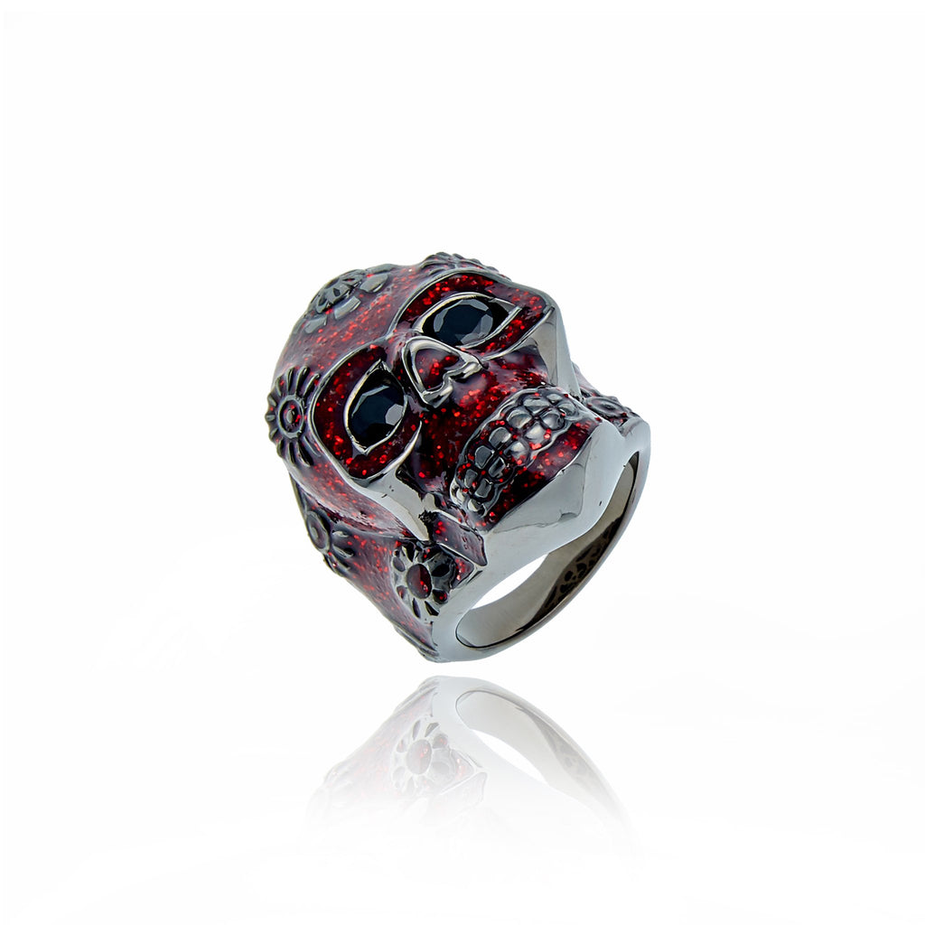 Sterling Silver Statement Ring With Dark Red Glitter Enamel & Onyx