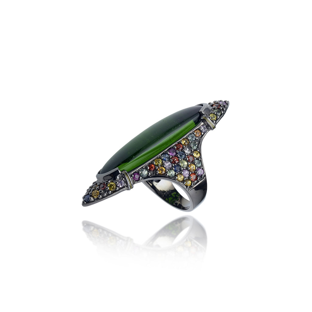 Sterling Silver Statement Ring With Metallic Olive Enamel, Mixed Sapphires & Moldavite
