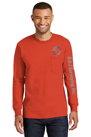 B&J Surveying, Inc. - Port & Company Long Sleeve Essential Pocket Tee - ORANGE