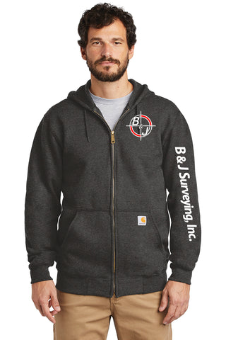 B&J Surveying, Inc. -Carhartt ® Midweight ZIP-UP Hooded Sweatshirt