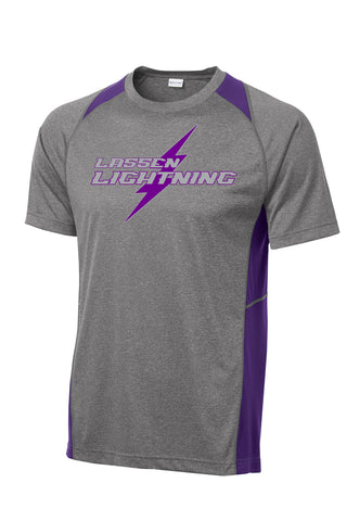 U10 LASSEN LIGHTNING - Mens Performance Tee - Gray/Purple