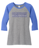 She Is Significant - Ladies Baseball Tee - Gray with Royal