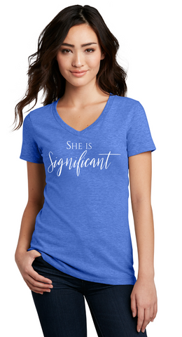 She Is Significant - Ladies V-Neck Tee— Heather Royal