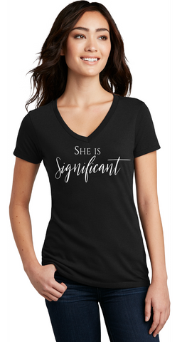 She Is Significant - Ladies V-Neck Tee— Black