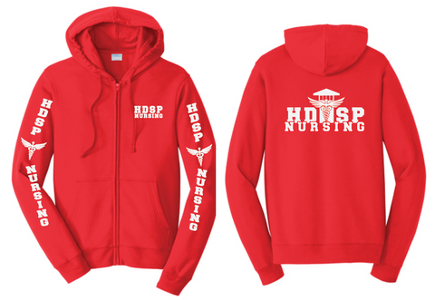 HDSP NURSING - ZIPPED  Hoodie - Red
