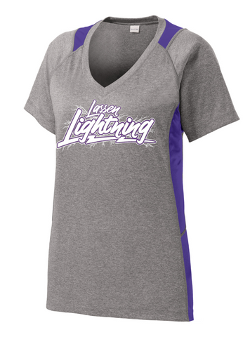 LASSEN LIGHTNING - Ladies Performance Tee - Gray/Purple