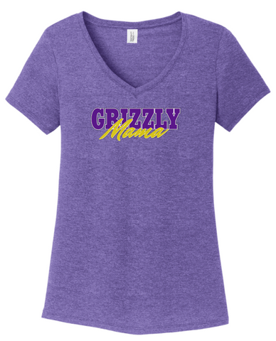 GRIZZLY MAMA - LADIES  V Neck Tee - Heather Purple