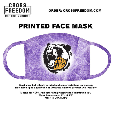 LADY GRIZZ FUNDRAISER 2020 - Face Mask - WE ARE LASSEN PURPLE BEAR