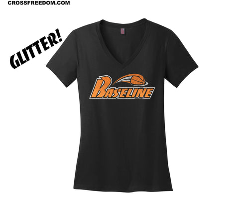 BASELINE BASKETBALL - LADIES GLITTER V NECK TEE