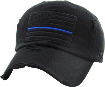 Blue Line Flag - Black Ball Cap