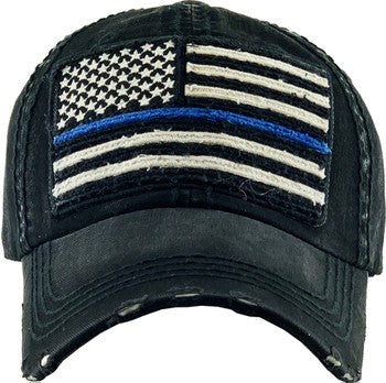 Blue Line Flag - Black Ball Cap - White flag