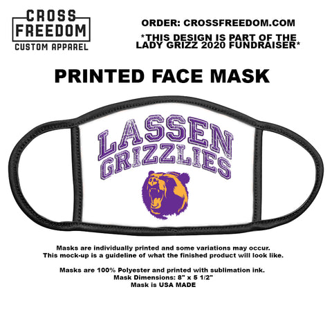 LADY GRIZZ FUNDRAISER 2020 - Face Mask -  LASSEN GRIZZLIES