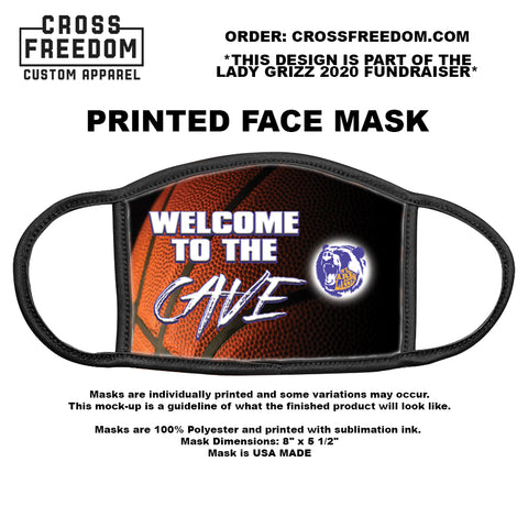 LADY GRIZZ FUNDRAISER 2020 - Face Mask - WELCOME TO THE CAVE