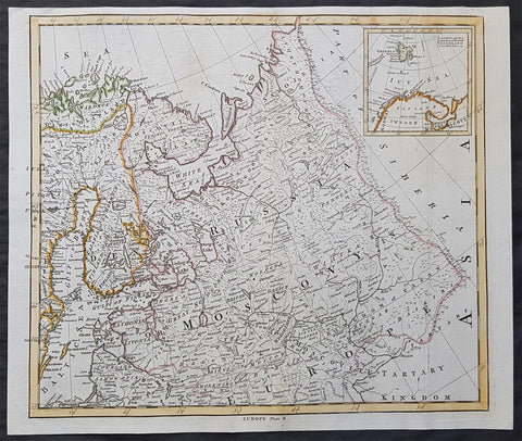 1765 T. Bowen & M Postlethweyt Antique Map of European Russia, Baltics, Lapland
