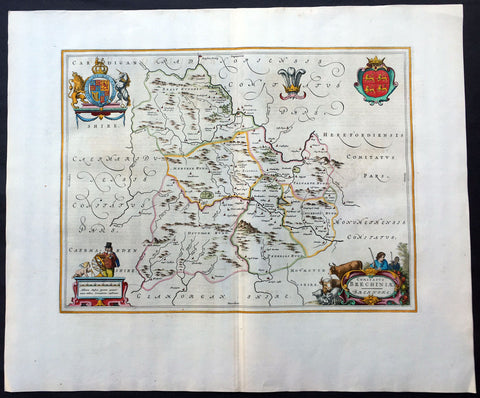 1664 Blaeu Large Antique Map of The Welsh County of Breknock