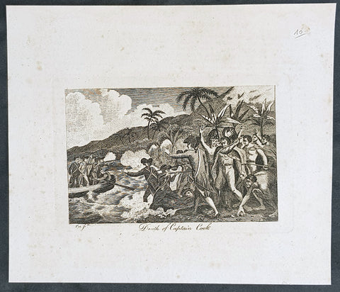 1799 Charles Pye Antique Print of The Death of Captain James Cook in Hawaii 1779