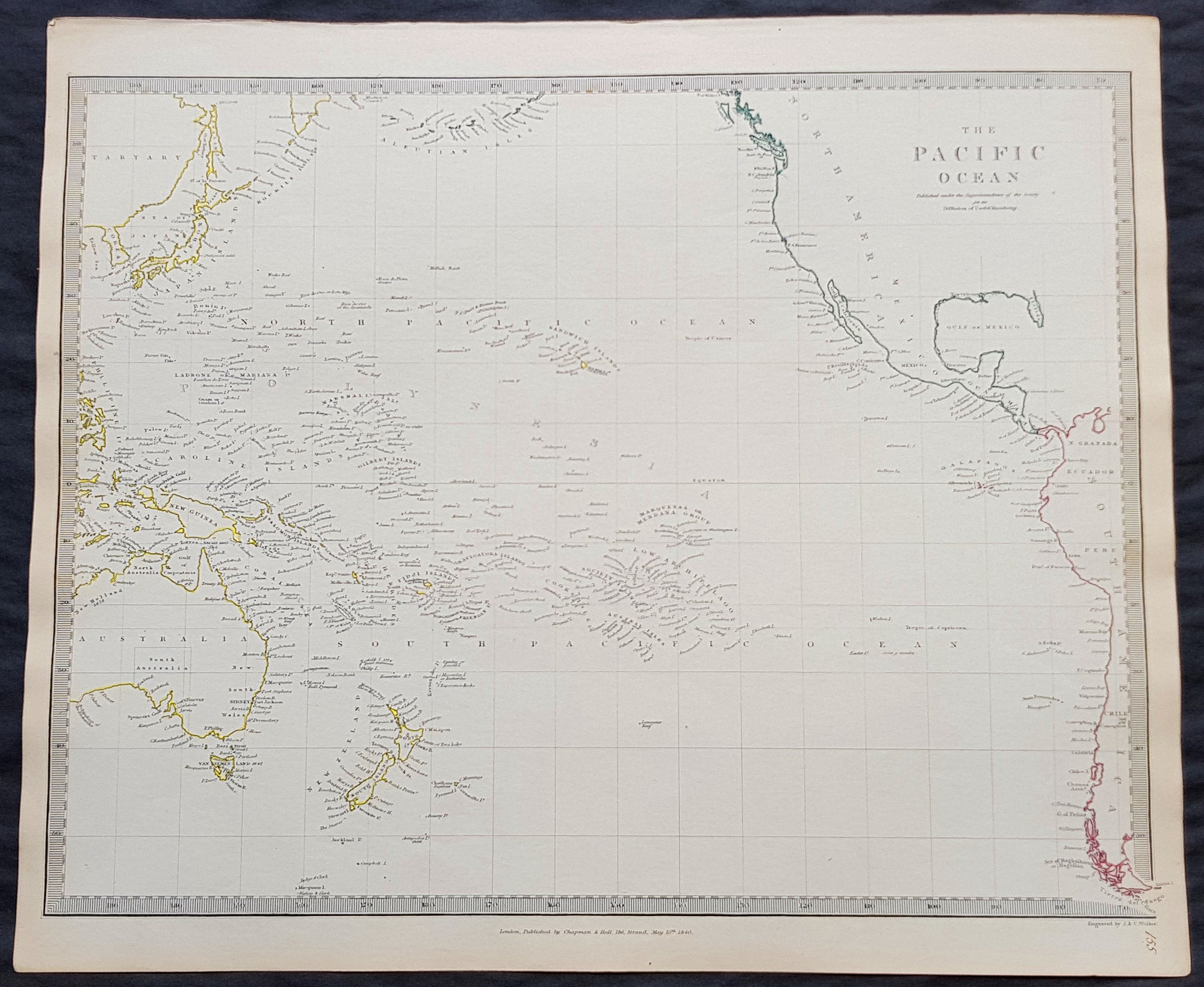 1840 SDUK Antique Map of The Pacific Ocean, North America, Japan ...