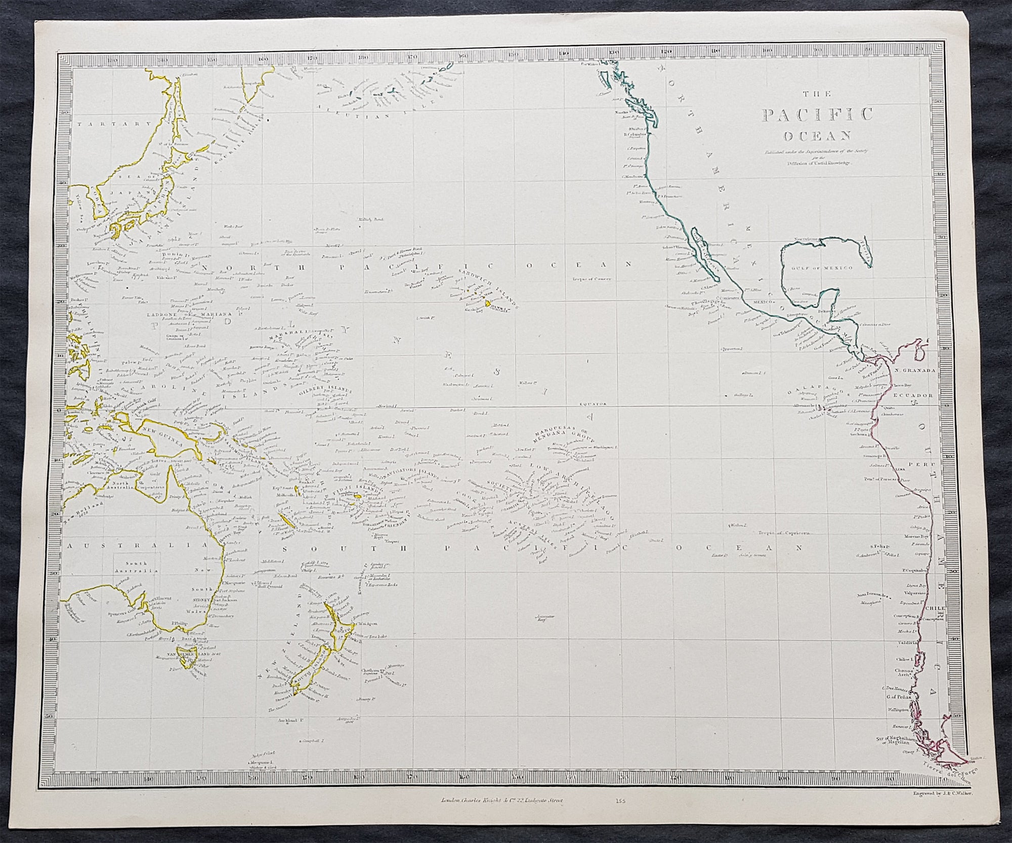 Map Of America Over Australia.1840 Sduk Antique Map Of The Pacific Ocean North America Japan Australia New Zealand