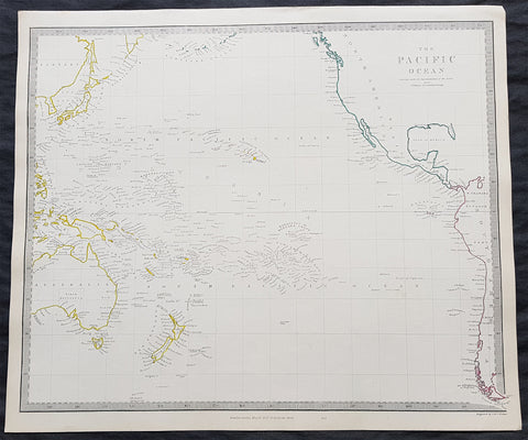 1840 SDUK Antique Map of The Pacific Ocean, North America, Japan, Australia, New Zealand