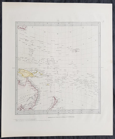1844 SDUK Antique Gnomonic Map of Australia, New Zealand & South Pacific, Hawaii