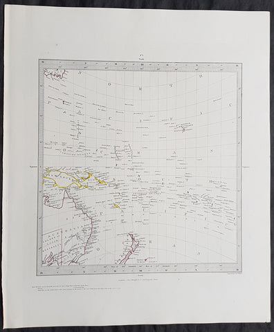 1846 SDUK Antique Gnomonic Map of Australia, New Zealand & South Pacific, Hawaii