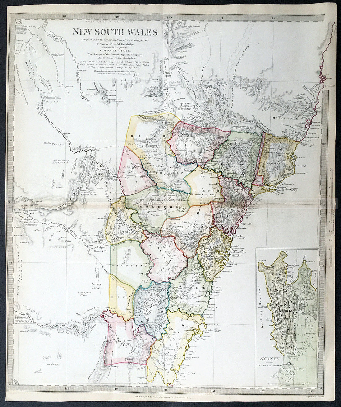 1833 sduk antique map of new south wales australia