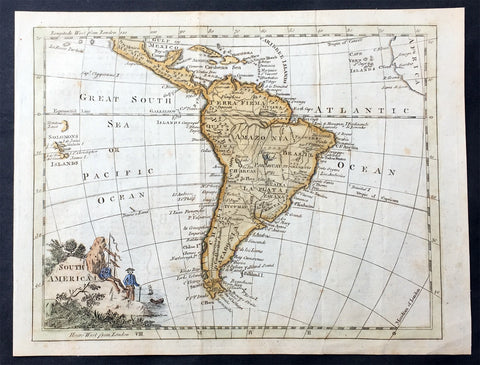 1754 Thomas Jefferys Old, Antique Map of South America