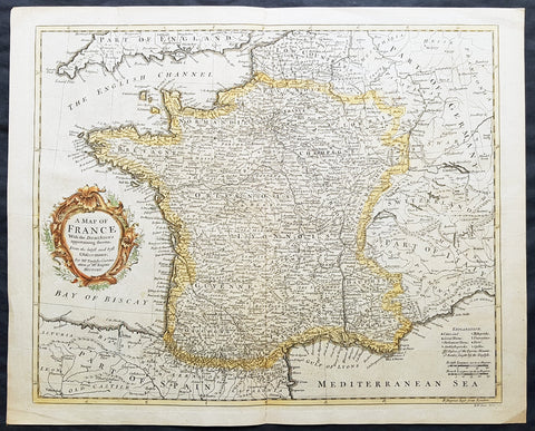 1745 Tindal Antique Map of France during the Spanish War of Succession 1701-13