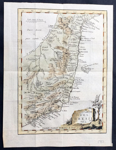 1765 Nicolas Bellin Original Antique Map of Brazil, San Salvador to Sao Paulo