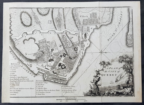 1798 John Stockdale Original Antique Map Plan of The Canadian City of Quebec