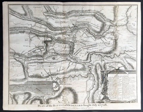 1745 Tindal Antique Battle Map of Oudenaarde, Belgium in 1708 - Britain & France