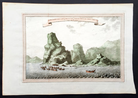 1750 Prevost & Nieuhoff Antique Print View of the Zoushan Archip. Zhejiang China