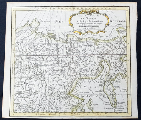 1758 Bellin Old, Antique Map of Eastern Siberia and the Kamchatka Peninsula Russia