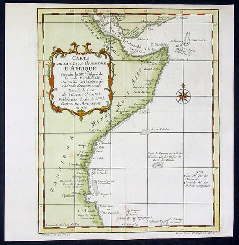 1750 Bellin Antique Map of East Coast, Horn of Africa