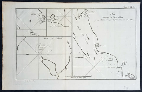 1774 Hawkesworth Antique Map of Magellan Straits, Bachelor River, Punta Arenas, Chile, Byron 1766