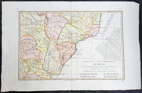 1780 Rigobert Bonne Antique Map Southern Brazil, Uruguay, River Plate Argentina