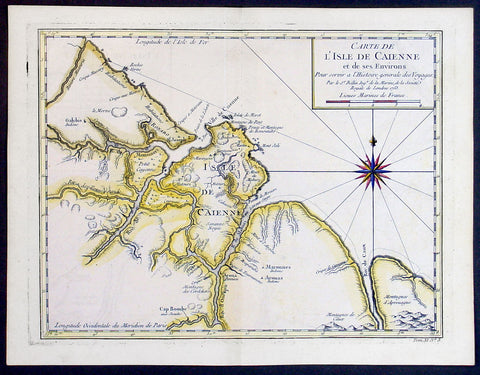 1753 Bellin Antique Map of The Island of Cayenne French Guyana, South America