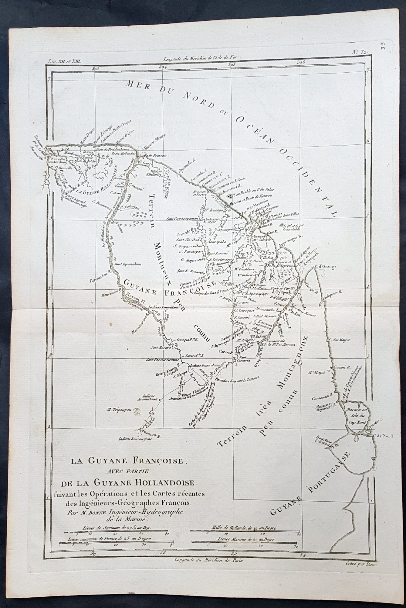 1780 Rigobert Bonne Antique Map Of South America Guyana Suriname