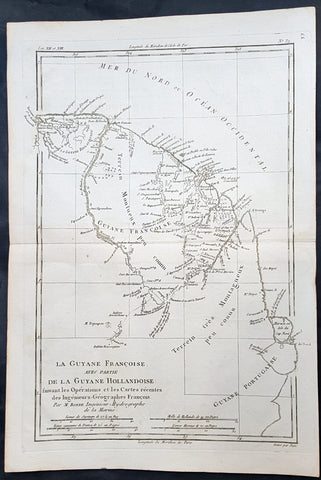 1780 Rigobert Bonne Antique Map of South America Guyana, Suriname, French Guiana