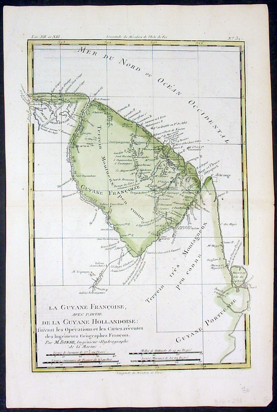 1780 Rigobert Bonne Antique Map Of South America French Guiana