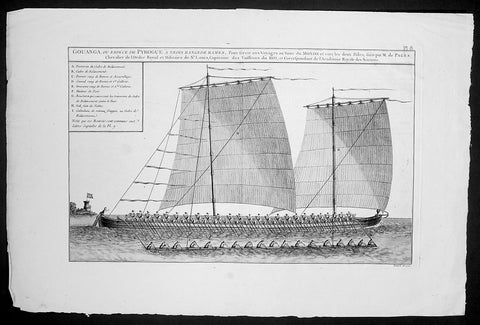 1767 Francois Pages Large Antique Print of Philippines Sailing Vessel, Outrigger