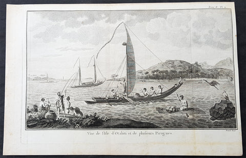 1778 Capt Cook Antique Print View of Matavia Bay Tahiti French Polynesia in 1773