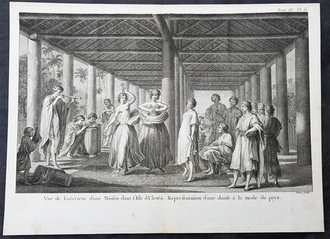 1780 Cook Benard Large Antique Print Dancing & Fashion Raiatea, French Polynesia
