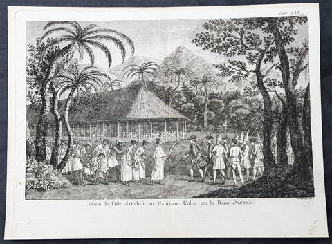 1780 Cook Benard Large Antique Print of Capt. Wallis Meeting Queen Purea, Tahiti