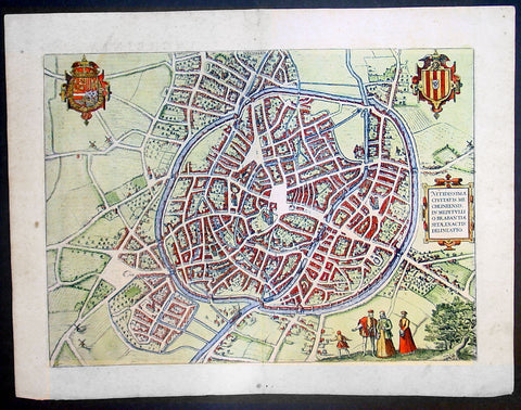 1575 Braun & Hogenberg Large Antique Print a View of Mechelen, Belgium