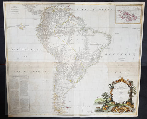 1794 Laurie, Whittle & Kitchin Very Large Original Antique Map of South America - Rare