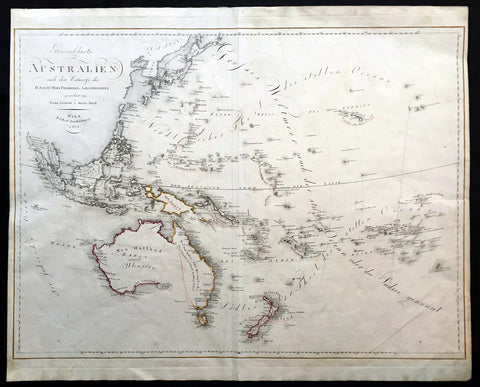 1815 Swoboda & Hartl Large Old, Antique Map of Australia, Ulimaroa New Zealand - Rare