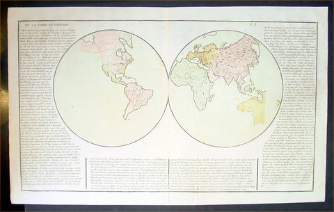 1767 Clouet Antique Twin Hemisphere World Map - Misshapen Australia