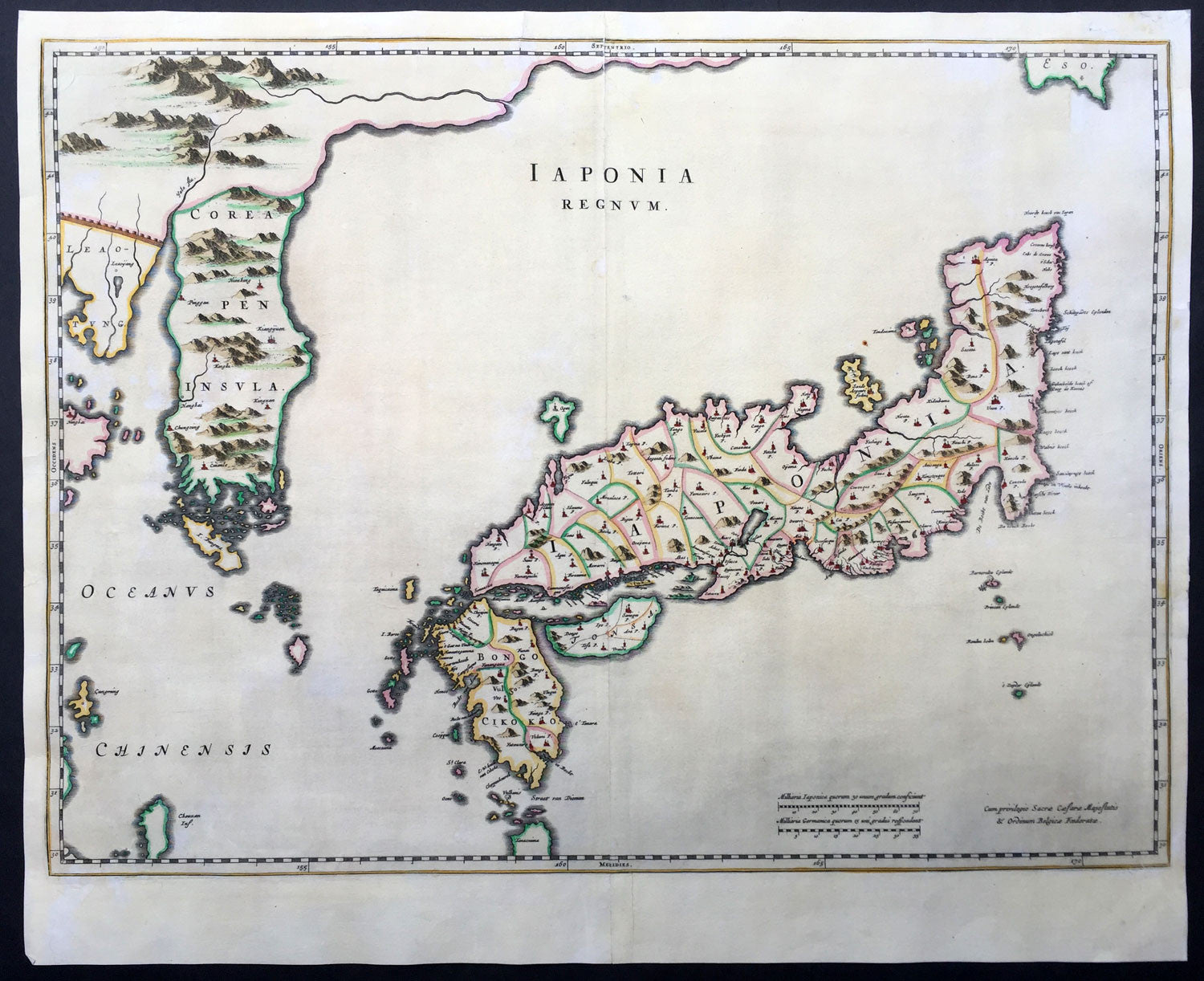 1665 Blaeu Antique Map of The Islands of Japan  Korea  Japonia